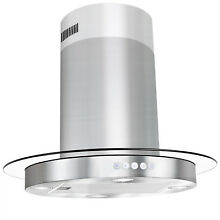 New 30  Kitchen Island Mount Stainless Steel Range Hood Tempered Glass