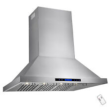 48  Stainless Steel Touch Screen Display Baffle Wall Mount  Range Hood