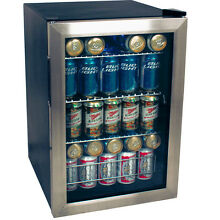 Compact 84 Can Stainless Steel Beverage Center Black Countertop Refrigerator NEW