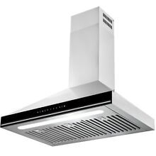 30  Touch Screen Display LED Light Kitchen Stainless Steel Wall Mount Range Hood