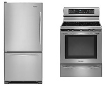 KitchenAid 2 Kitchen Appliance Package Stainless Refrigerator and Range  1 NEW