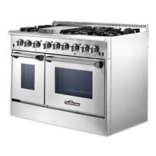 48  Professional Stainless Steel Dual fuel Range Kitchen 2 Ovens Tool Cooktop