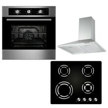 Cookology 60cm Built in Electric Fan Oven  Gas on Glass Hob   Cooker Hood Pack