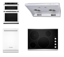 KitchenAid 4 Kitchen Package White Wall Oven Dishwasher Cooktop Range Hood