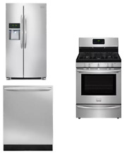 Frigidaire 3 Kitchen Package Stainless Dishwasher Range Refrigerator NOB
