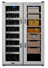 Freestanding Wine Cooler Stainless Steel Cigar Humidor Center W Drawers Shelves