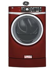 GE 8 3 cu ft Electric Dryer Steam Ruby  Red Energy Star Laundry GFD49ERPKRR
