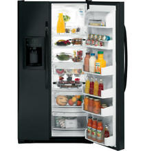 GE 33  wide Gloss Black Side by Side 23 1 CF Refrigerator   Black   excellent