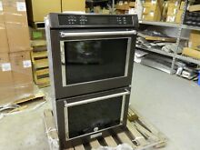 AS IS KITCHENAID 30  True Convection Black Stainless Double Wall Oven KODE500EBS