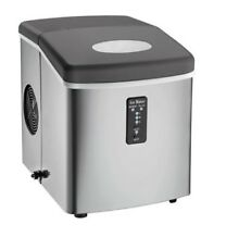 Compact Ice Maker Portable Stainless Steel with Oversized Ice Basket Cooled Home