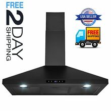 New 36  Wall Mount Black Ductless Stainless Steel Range Hood Stove Vents Kitchen