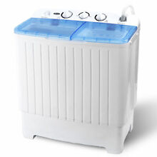 17 6LBS Portable Washing Machine Mini Compact Twin Tub Laundry Washer Spin Dryer