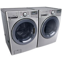 LG 5 2 Cu  Ft  Front Load Washer and 7 4 Cu  Ft  Electric Steam Dryer   Graphite
