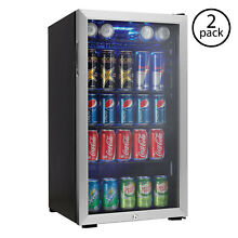 Danby Beverage Center Soda Beer Bar Mini Fridge Cooler  Stainless Steel  2 Pack