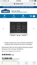 kitchen aid 6 burners stainless steel 36 in gas cooktop unused brand new