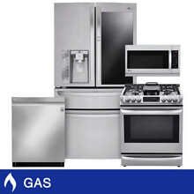 LG 4 piece Dual Fuel 30CuFt Instaview Kitchen Package