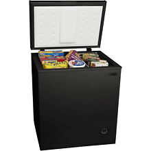 Small Compact Chest Freezer Removable Storage Basket Arctic King 5 cu ft Black