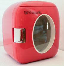 Retro Personal Mini Fridge Small Office Desk Fridge Red Portable Car Food Warmer