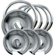 Chrome Drip Pan Set of 8 Replacement Range Pans Trim Rings Hinged Burner Stoves