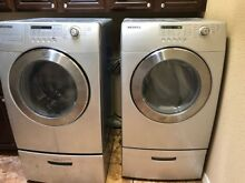 Bundle of Samsung silver gray front loading pedestal washer   dryer  Samsung WF3