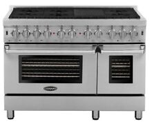 COSMO COS DFR486G DUAL FUEL 48  RANGE WITH 6 BURNERS Stainless Steel