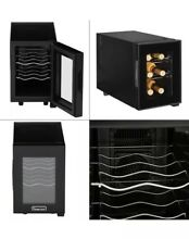 6 Bottle Countertop Wine Cooler Compact Black Temperature Control   Magic Chef