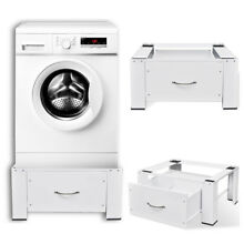 Home Laundry Washing Washer Dryer Machine Pedestal with Drawer Non Slip White US