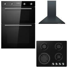 Cookology Black Built in Double Oven  Gas on Glass Hob  Chimney Cooker Hood Pack