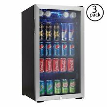 Danby Beverage Center Soda Beer Bar Mini Fridge Cooler  Stainless Steel  3 Pack
