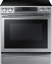 Samsung   5 8 Cu  Ft  Electric Induction Self Cleaning Slide In Smart Range with