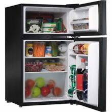 3 1 Cubit Feet Double Door Mini Fridge  Black  Freezer and refrigerator