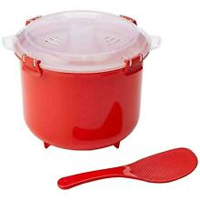 Sistema Microwave Rice Cooker Bowl with Spoon   Klip It Lid   2 6 L   Red Clear