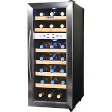 Quiet 21 Bottle Freestanding Dual Zone Wine Fridge with Stainless Steel and Beec