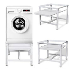 Adjustable Washing Machine Pedestal Dryer Laundry Stand with Pull Out Shelf NEW