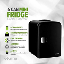 Gourmia GMF600 Thermoelectric Mini Fridge Cooler and Warmer   4 Liter 6 Can