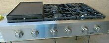 DACOR HERITAGE PRO STYLE HRTP486S NG  48   GAS RANGE TOP WITH GRIDDLE PLATE