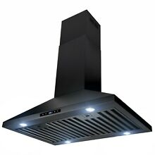 30  Island Mount Black Painted Finish Stainless Steel Touch Panel Range Hood