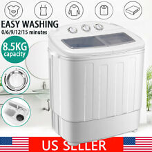 18 7lbs Portable Washing Machine Compact Twin Tub Laundry Washer Spiner Dryer US