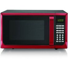 Hamilton Beach Modern 0 9 Cu  Ft  touch pad Microwave Oven  Red Stainless Steel