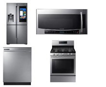 Samsung Kitchen Package Stainless Refrigerator Range Dishwasher Microwave MAD  8