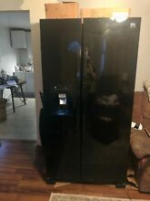 Black Kenmore 25cu side by side refrigerator freezer with ice maker 34  wide