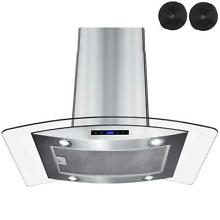 AKDY 36 in  Kitchen Island Mount Range Hood in Stainless Steel with Tempered Gl