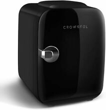 CROWNFUL Mini Fridge  4 Liter 6 Can Portable Cooler and Warmer   Black