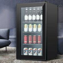 120 Can 3 1 Cu Ft  Beverage Soda Beer Bar Mini Fridge Cooler Glass Door Black