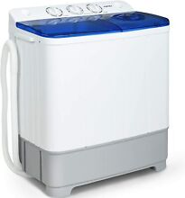 21lbs Portable Washing Machine Twin Tub Compact Spin Dryer Combo White Blue