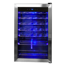SMAD 33 Bottle Wine Fridge Beverage Cooler Stainless Steel Frame LED Glass Door
