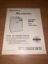 Sears Kenmore Electric Dryer Parts List Model 110 6718402