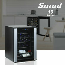 SMAD 19 Bottle Wine Cooler Beverage Drinks Fridge Glass Door LED Undercounter