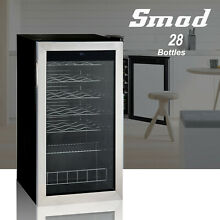 SMAD 28 Bottle Wine Fridge Beverage Cooler Stainless Steel Frame LED Glass Door