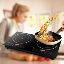 Double Induction Cooker 2 Burner Built in Dual Pot Electric Countertop 2400W US